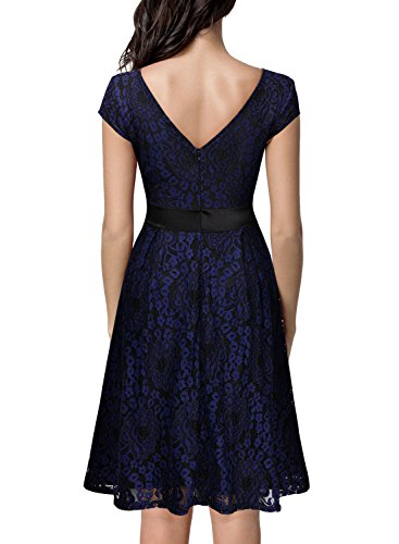 miusol women 39 s vintage floral lace contrast bow cocktail evening dress large navy blue and. Black Bedroom Furniture Sets. Home Design Ideas