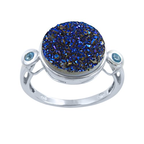Sterling Silver Round Blue Drusy Ring with Blue Topaz-Accents, Size 6