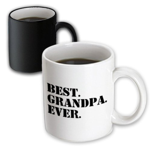 3Drose Best Grandpa Ever, Gifts For Grandfathers, Black Text, Family, Magic Transforming Mug, 11-Oz