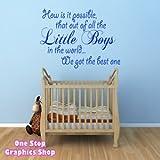 1Stop Graphics - Shop Best Little Boy Wall Art Quote Sticker - Baby Kids Boy Bedroom Love Decal - Colour: Light Blue - Size: Medium