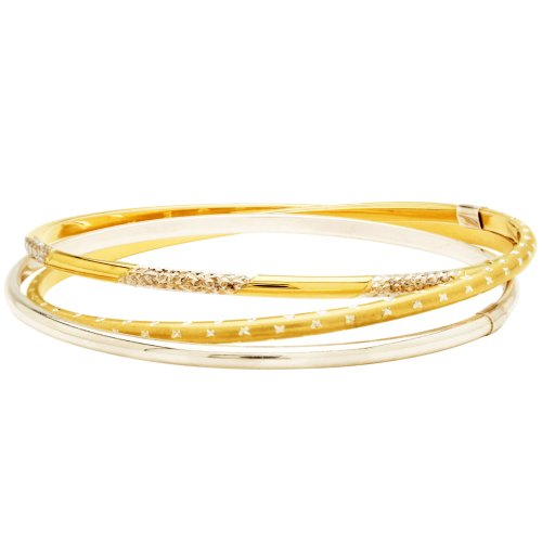 Bonded Sterling Silver and 10k Gold Two-Tone Interlocking Bangle Bracelets
