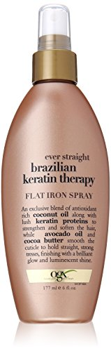 OGX Flat Iron Spray, Ever Straight Brazilian Keratin Therapy, 6oz (Keratin Hair Spray compare prices)