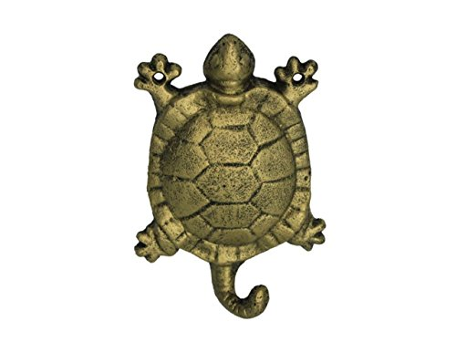 "Hampton Nautical  Rustic Gold Turtle 6"" Cast Iron Wall Hook (Metal Wall Décor)"
