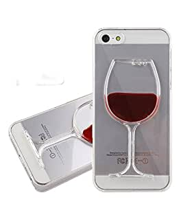"""Fashion & Cover SOFT TPU Case"""" 3D Liquid Flow Wine Glass Cocktail Case Cover For iPhone 5S/5 (Red)"""