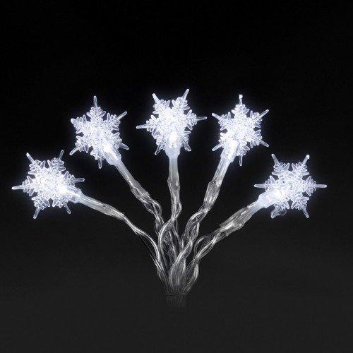 LED Lichterkette mit Schneeflocken-Motiv für innen 20 Kerzen batteriebetrieben