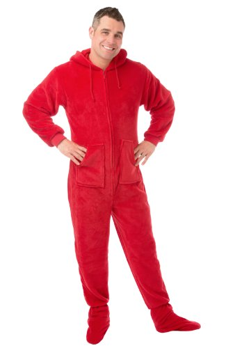 Hoodie Footed Red Plush Pajamas (S) front-576991