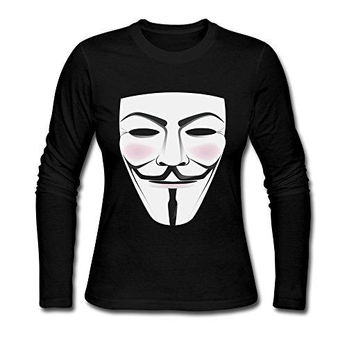 Seico Women's V For Vendetta Mask Freedom Fighter T-shirt Black Size XXL (V For Vendetta Mask Deluxe)