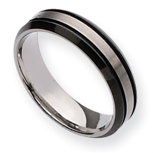 Titanium Two-tone Grooved 6mm Brushed and Polished Comfort Fit Wedding Band (Size 11 1/2)