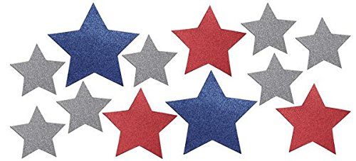 Creative Converting 12 Count Patriotic Stars Glitter Wall Cutouts, Mini