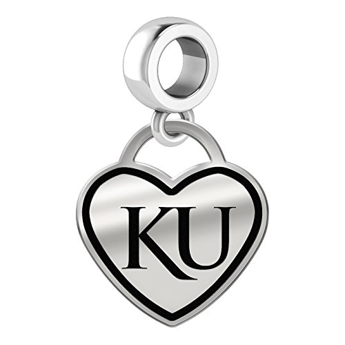 Kansas Jayhawks Border Heart Dangle Charm Fits All Beaded Charm Bracelets