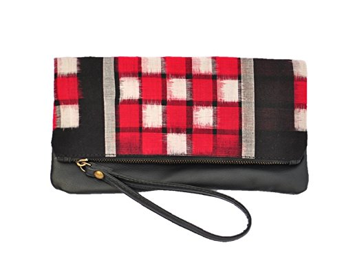 AT IKAT Indian Da donna Rosso and Nero Fold Clutch borsetta cum IPAD Manica Sera Partito Borsa