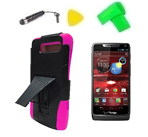 Heavy Duty Hybrid Phone Cover Case Cell Phone Accessory + Extreme Band + Stylus Pen + Lcd Screen Protector + Yellow Pry Tool For Verizon Motorola Moto Luge 4G Lte (T-Stand Black Pink)