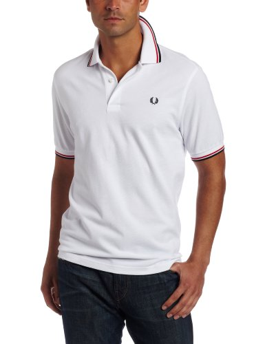 Fred Perry Men's Tipped Polo,White/Bright Red/Navy,X-Large