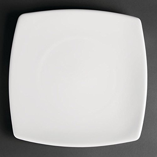 12X Commercial White Square Dinner Plates 300mm / Restaurant Cafe Pub Heavy Duty & Best Deal 12X Commercial White Square Dinner Plates 300mm ...