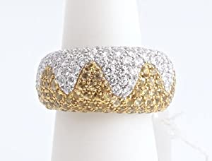 CHOPARD 18KW Gold Yellow Sapphire Wave Ring Size 6 Retail $23,850 Box Certificate