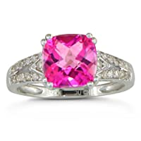 SuperJeweler 2 3/4ct Diamond and Pink Topaz Ring In Sterling Silver by SuperJeweler