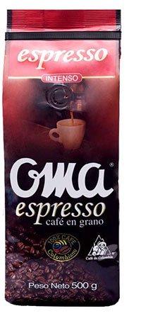 Oma Espresso Coffee Beans Intense 100% Colombian Coffee/Cafe Espresso Oma 500 G
