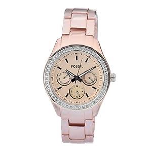 Fossil Damen-Uhren Multifunktion Stella Aluminium Rosé Quarz Analog Es2975