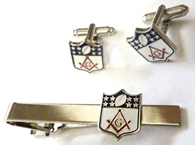 Masonic NFL Football Shield Logo Square & Compass TIE BAR CLIP CUFFLINKS SET
