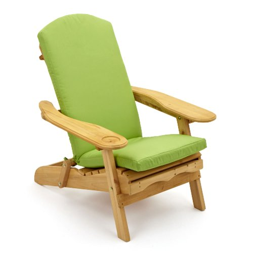 Trueshopping Garden Furniture / Patio Newby Wooden Adirondack Arm Chair / Lounger with pull out retractable Leg Rest Durable & Easy To Store Away with Luxury Light Green One Piece Seat, Back and Head Cushion