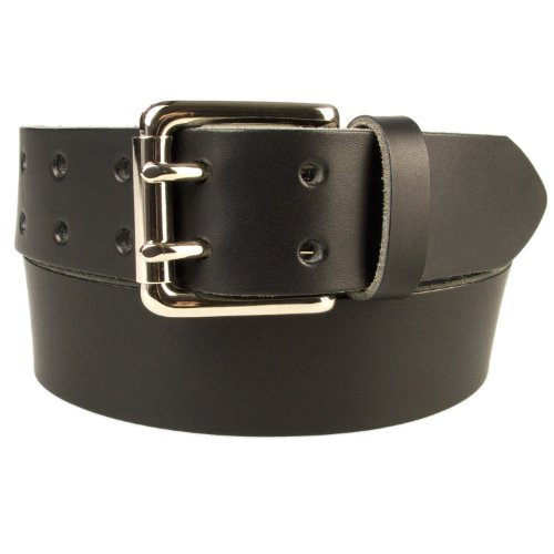 "42-46 inch (XL) , Black, Nickel Plated Solid Brass Double Prong Buckle - 1.5"" Wide Leather Belt - Made In UK (BD-0018-38-NK)"