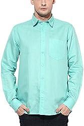 Y.U.V.I. Men's Linen Regular Fit Casual Shirt (11112980-S, Green, Small)