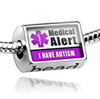 "Neonblond Beads Medical Alert Purple ""Autistic"" - Fits Pandora Charm Bracelet by NEONBLOND Jewelry & Accessories"