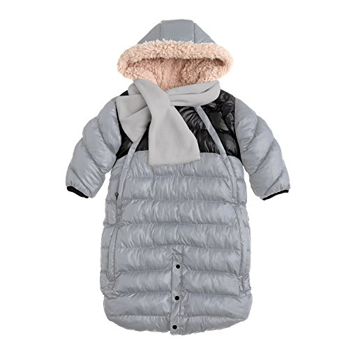 7AM Enfant Doudoune One Piece Infant Snowsuit Bunting, Gray/Black, Medium