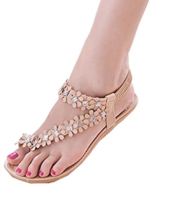 Zeagoo Women Bohemia Flower Beads Flip-flop Shoes Flat Sandals from China