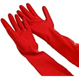 TOOPOOT® Waterproof Rubber Latex Gloves for Dish Washing Laundry Housework (Red)