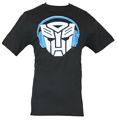Transformers Mens T-Shirt - White Autobot Logo Rocking Headphones Image (Large) Black