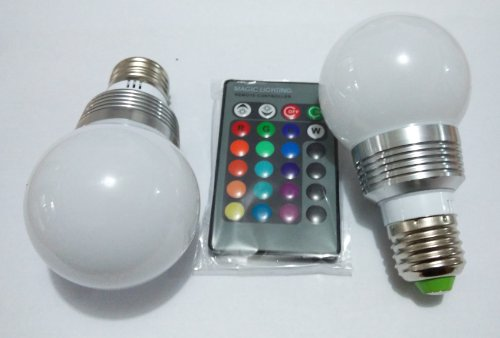 Willlight 2Pcs* 3W E27 Q4 Color Changing Light Bulb With Remote