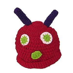 DDU(TM) 1 Set Cute Caterpillar Shape Hand Knitting Cap Beanies Hat+Sleep Cover for Baby Photography
