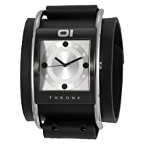 01TheOne Unisex AN02G04 Analog Steel Bow Silver Dial Black Leather Watch