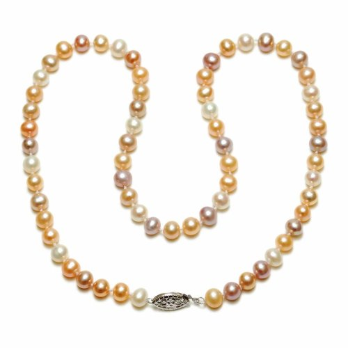 Sterling Silver Natural Pastel Multi-Color Freshwater Cultured Pearl A Grade 5.5-6mm Necklace, 16