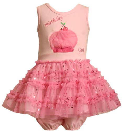 Bonnie Baby Birthday Dress With Glitter Mesh Skirt , Pink, 12 Months