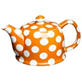 Classic Coffee & Tea White Dots Teapot Pumpkin Orange 20 Oz.
