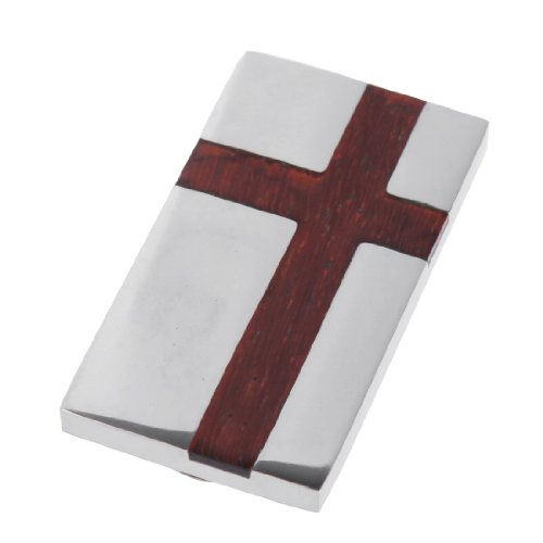 MC1004 Handsome Aaccessories Redwood Cross Stainless Steel Money Clips Wallet Fantastic Fabric Gift for Mens By Y&G