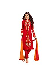 Amyra Women's Georgette Dress Material (AC795-05, Red)