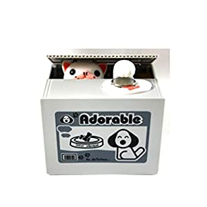 Cute Kids Stealing Coins Cents Penny Buck Saving Money Box Pot Case Piggy Bank Gog from foreveryang