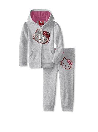 Hello Kitty Little Girls' Fleece Active Pant Set, Heather Grey, 3T front-895059