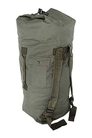 Military Army Style Double Strap Duffel Duffle Bag (37, Olive Drab)