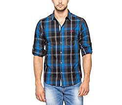 SPYKAR Men Cotton Blue Casual Shirt (X-Large)