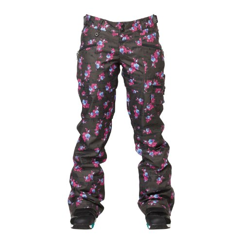 Roxy Snow Juniors Glamour Shots Snow Pants, Blue Roses, Large