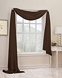 No. 918 Emily 59 by 216-Inch Sheer Voile Scarf, Chocolate
