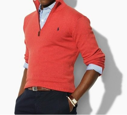 Polo Ralph Lauren Mens Cotton Half Zip Jumper Sweater in Orange (X-Large)