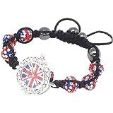 Bracelet Style Shamballa Montre Cristal/Hématite - Drapeau Anglais Uk Angleterre - Ajustable
