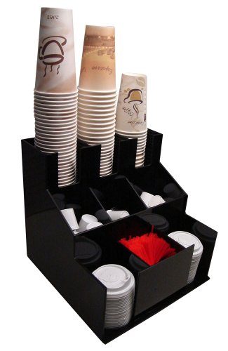 Coffee Cup Dispenser and Lid Holder Organizer Condiment Stirrer, Sugar Cup Caddy Organize and Display Your Beverage Counter with Style (1010)