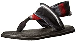 Sanuk Women\'s W Yoga Sling 2 Prints Flip Flop, Black/Multi/Blanket Red, 7 M US