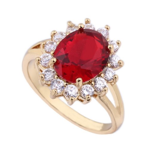 C-Princessリング 指輪18Kゴールドメッキ コーティン 赤いラインストーン 人造宝石 レディース 女性 アクセサリー ジュエリー ウェディング エンゲージリング 眩しい (15)
